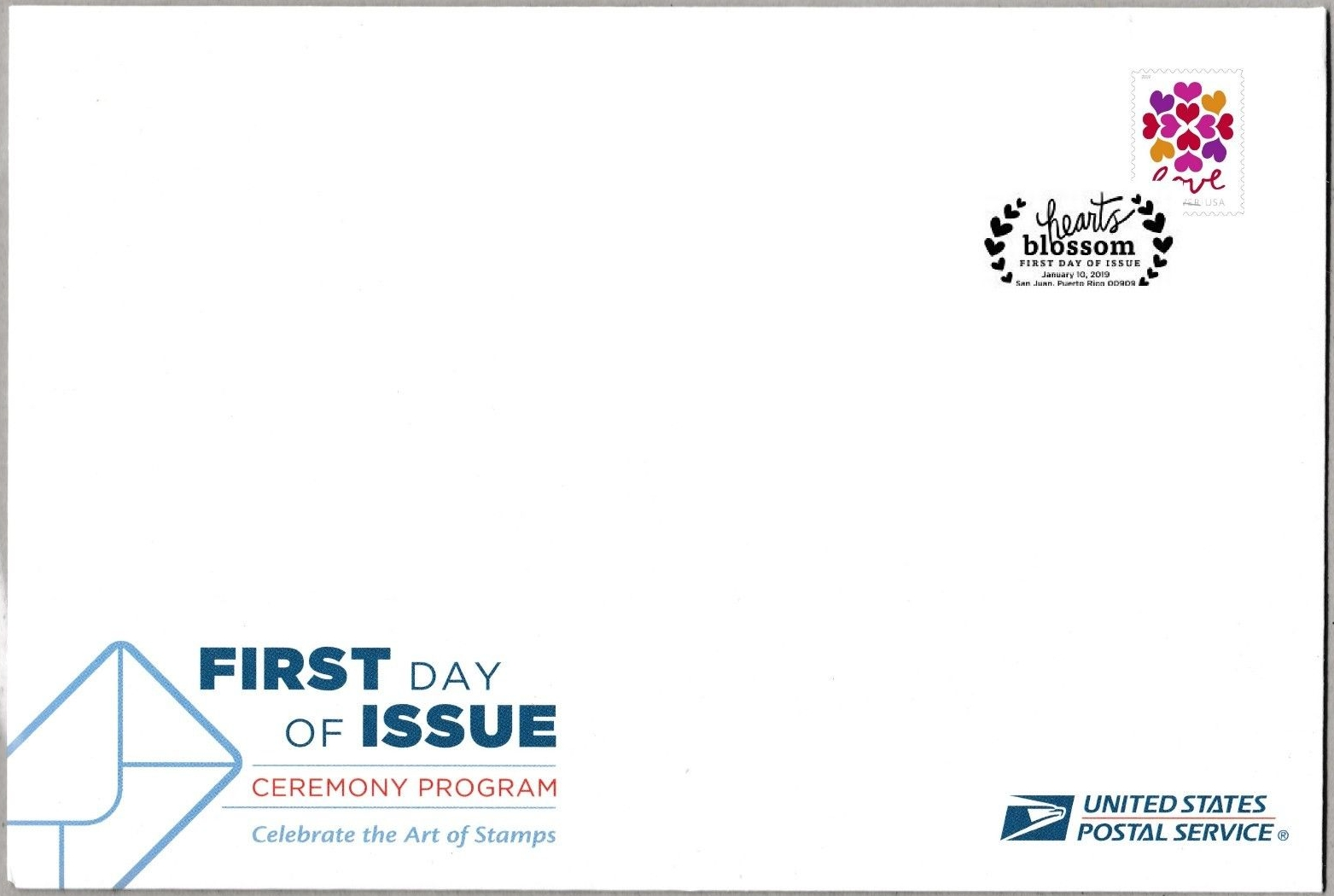 United States - Hearts Blossom (January 10, 2019) first day of issue ceremony program