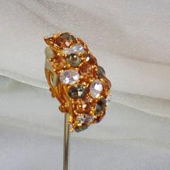 Vintage Earrings. Large Clip Earrings. Ciner Gold Gray Clear Rhinestone Earrings. Ciner Earrings. waalaa.
