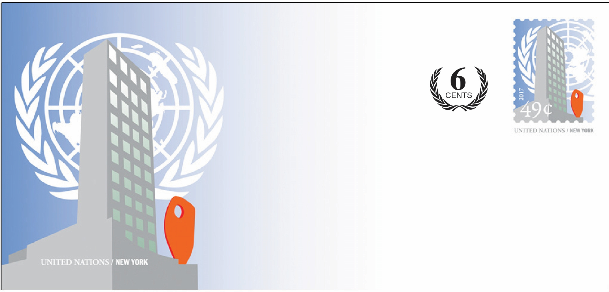 United Nations Headquarters (New York) - Revalued Envelope, large - 55 cents (February 1, 2019)