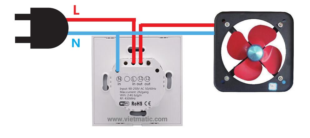 Ví dụ về điều khiển quạt với công tắc cảm ứng thông minh