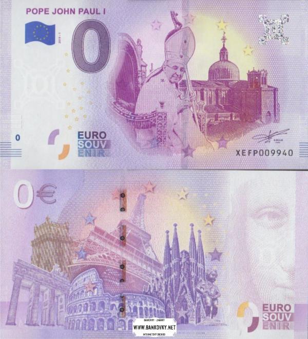 0 euro 2019 Vatikán - pápež Ján Pavol I.