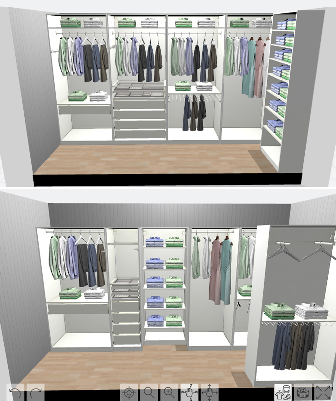 IKEA Pax Planner 3D closet rendering for long and narrow small closet
