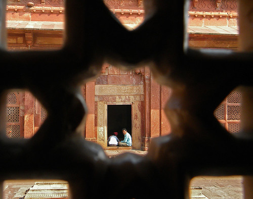 Pierced window screen in the mosque in Fatehpur Sikri, a town outside of Agra in India