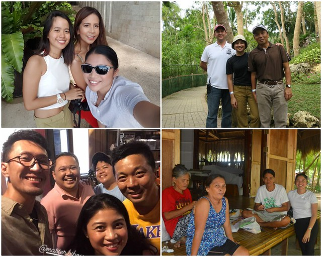 """Folks I worked with this year. (1st top left: Carmen del Prado and Mia Arcenas for Mabuhay December 2018 """"Going Global"""". 2nd top right: Cebu Safari VP Eduard Loop and my husband, Jovi. 1st bottom left: Photographer Takeshi, Musical Director Jude Gitamondoc and singer-songwriter Jerika Teodorico. 2nd bottom pic: Caohagan Quilters)"""
