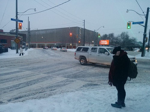 Dupont and Ossington as snow falls, 6 o'clock #toronto #winter #snow #intersection #dupontstreet #ossingtonave