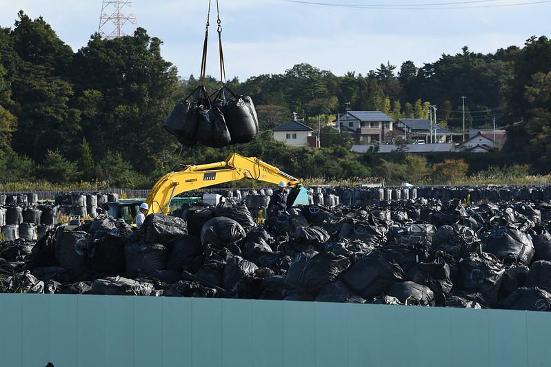 福島除輻污土存放場址。綠色和平提供