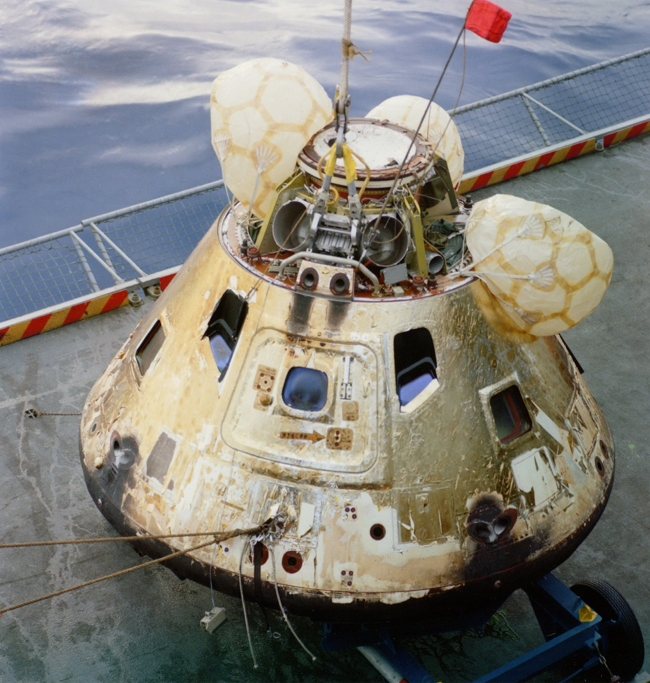 The Apollo 8 Command Module on the deck of the USS Yorktown (CVS-10) after being recovered on December 27, 1968.