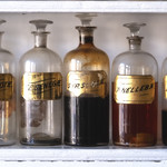 Sat, 2019-02-16 15:15 - Glass pharmacy bottles in the Stadler-Leadbetter Apothecary Shop in Old Town Alexandria.