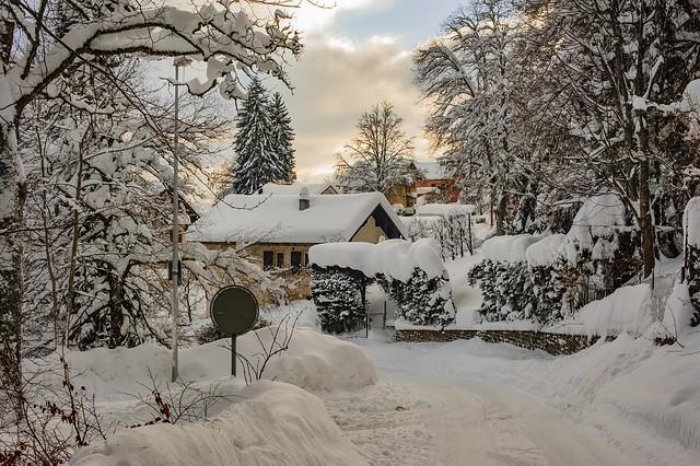 Winter twilight time in La Chaux-de-Fonds. Canton of Neuchâtel. Switzerland. Izakigur  No. 1536.