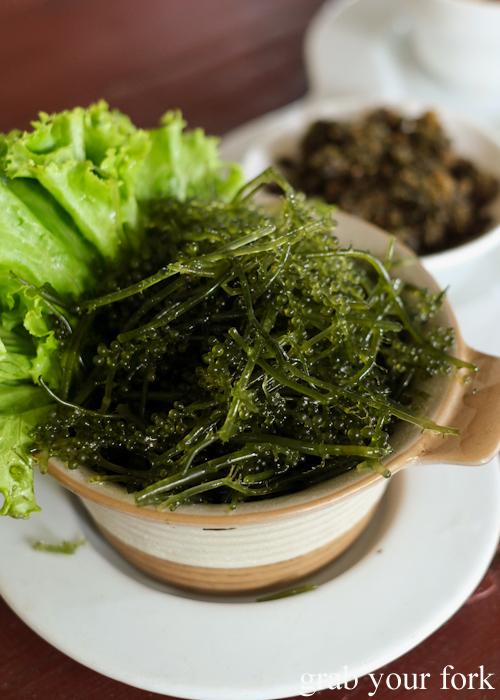 Seaweed grape salad at Krua Navy Base Restaurant in Khao Lak, Thailand