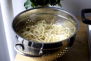 drained spaghetti