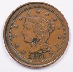 1851 large cent error obverse