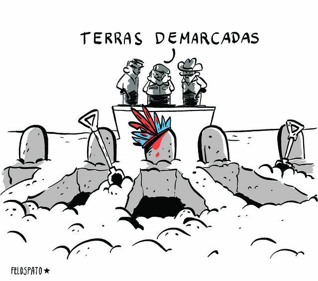 Bolsonaro ataca contra a vida dos povos indígenas e quilombolas - Créditos: Feldspato