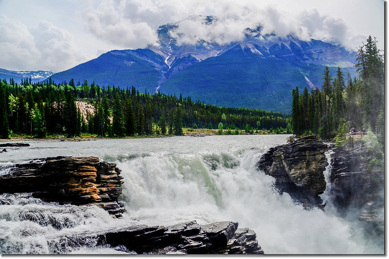 Athabasca Falls with Mount Kerkeslin as a Backdrop (Jasper National Park) 1