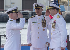 PEARL HARBOR (Feb. 21, 2019) Adm. John Aquilino, commander of U.S. Pacific Fleet, looks on as Rear Adm. Blake Converse, right, relieves Rear Adm. Daryl L. Caudle as the commander of Submarine Force, U.S. Pacific Fleet during a change of command ceremony aboard the Virginia-class fast attack submarine USS Mississippi (SSN 782) in Joint Base Pearl Harbor-Hickam. (U.S. Navy photo by Mass Communication Specialist 2nd Class Shaun Griffin/Released)