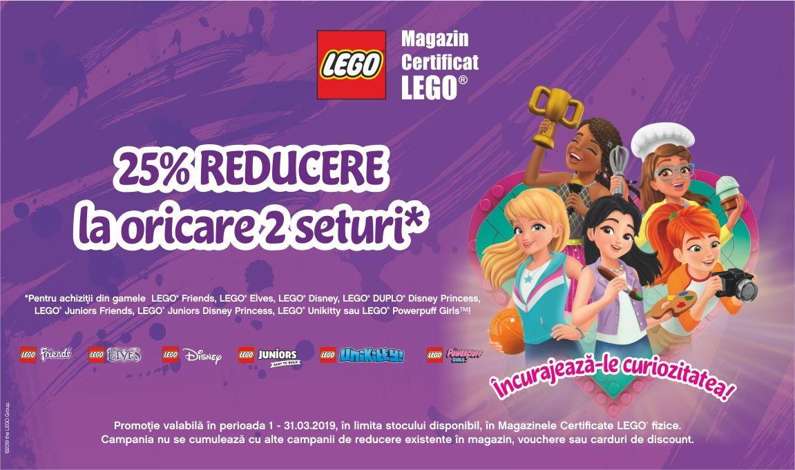 25% reducere la oricare 2 seturi LEGO® din anumite game