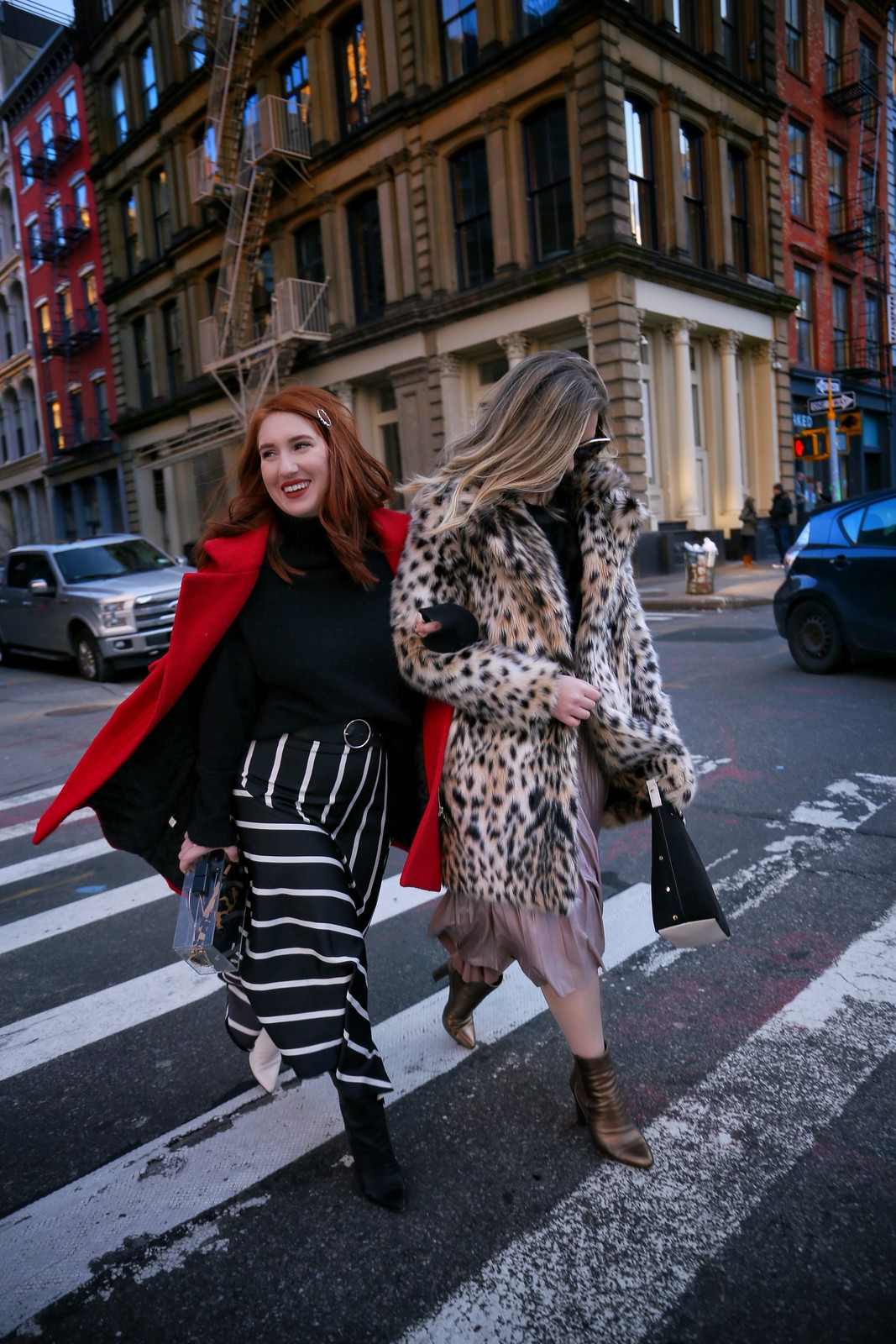 Midi Skirts Booties Fashion Blogger Friends NYC Street Style Winter Outfit Inspiration