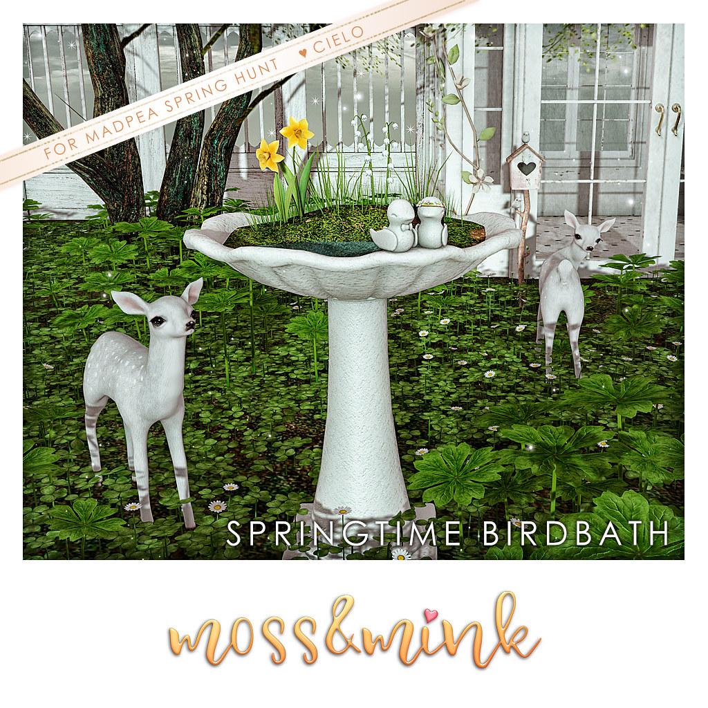 Moss & Mink Springtime Birdbath