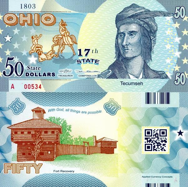 USA 50 Dollars 2015 17. štát - Ohio polymer