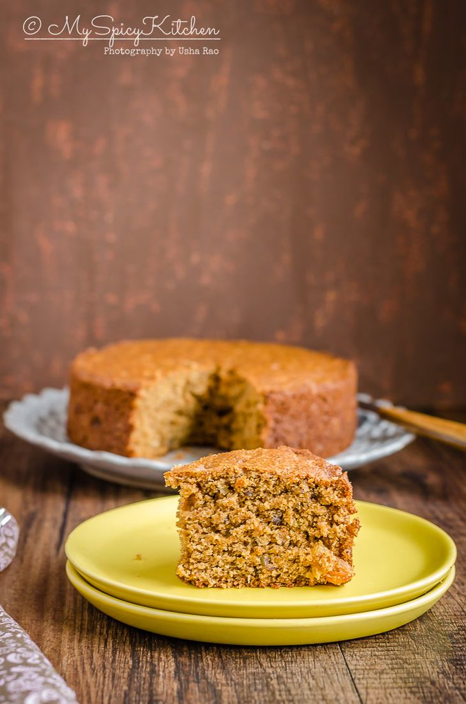 A slice of applesauce whole wheat cake