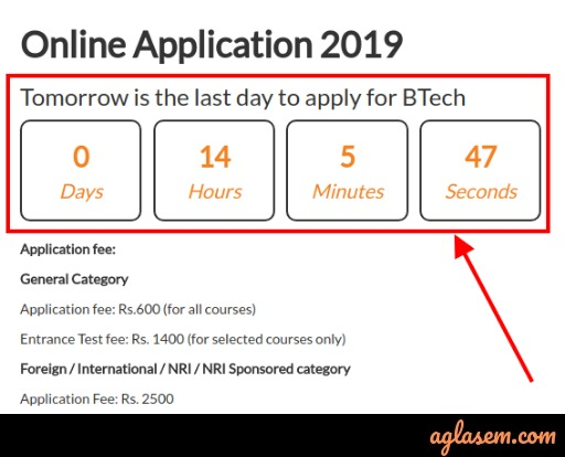 Application date extended