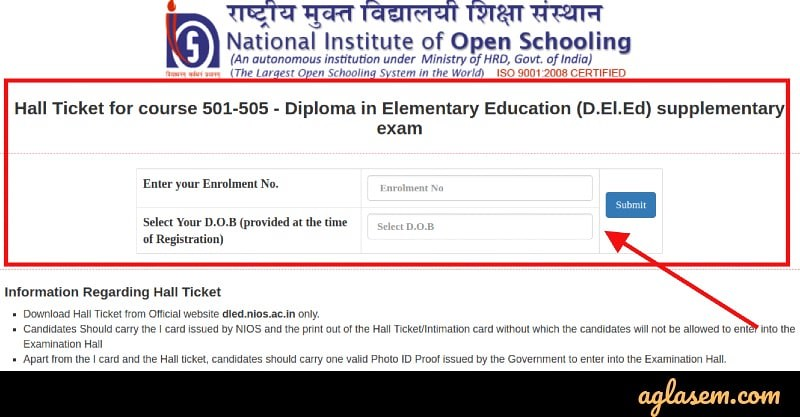 NIOS Releases 5th DElEd Admit Card 2019 for 501-505; Know How to Download Your Admit Card