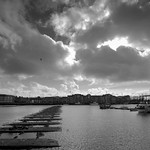 Stormy clouds over Preston docks