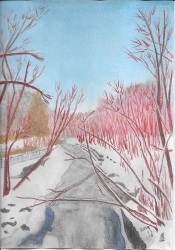 Winter Creekside Watercolour