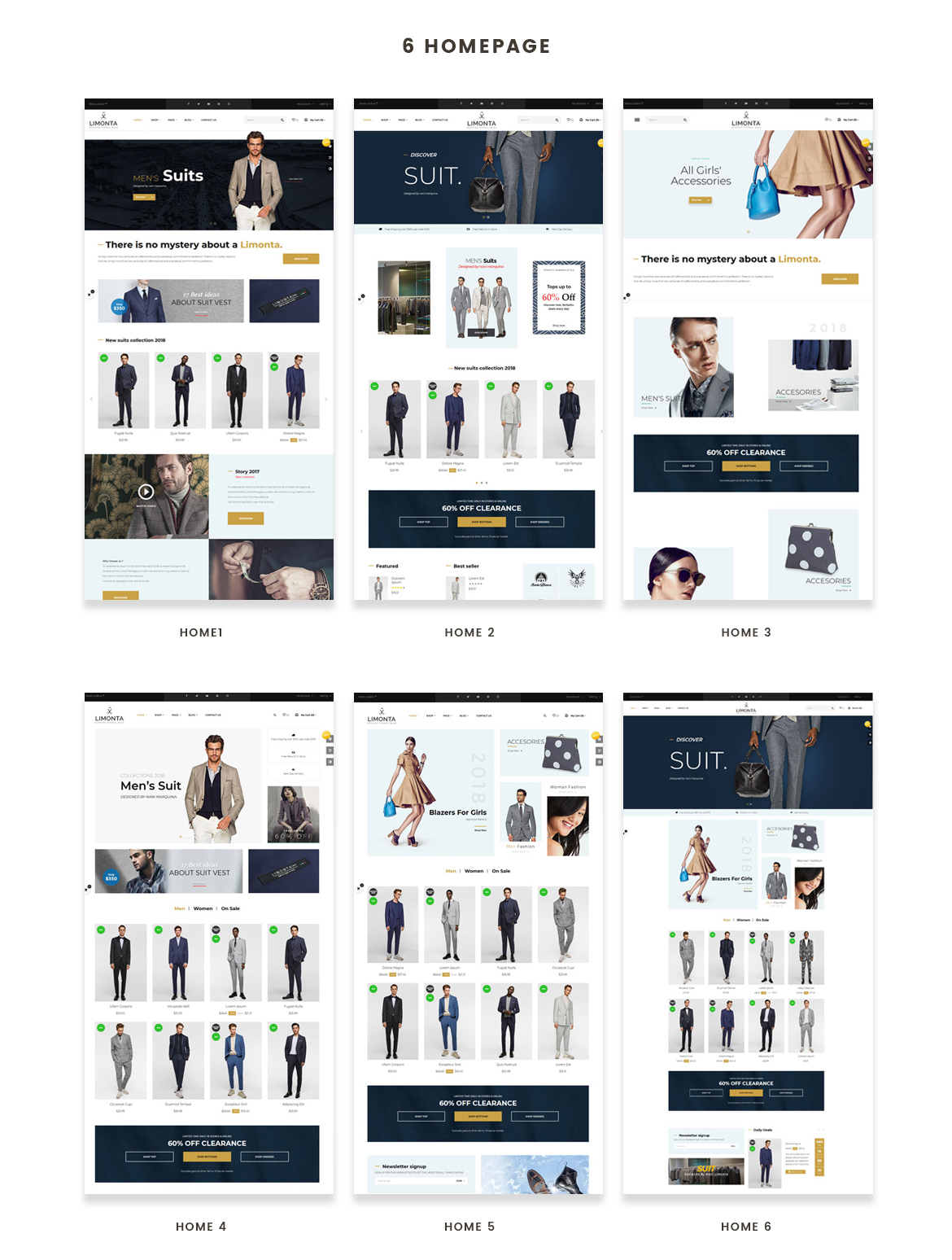 6+ premade homepages for Men Fashion and Accessories store