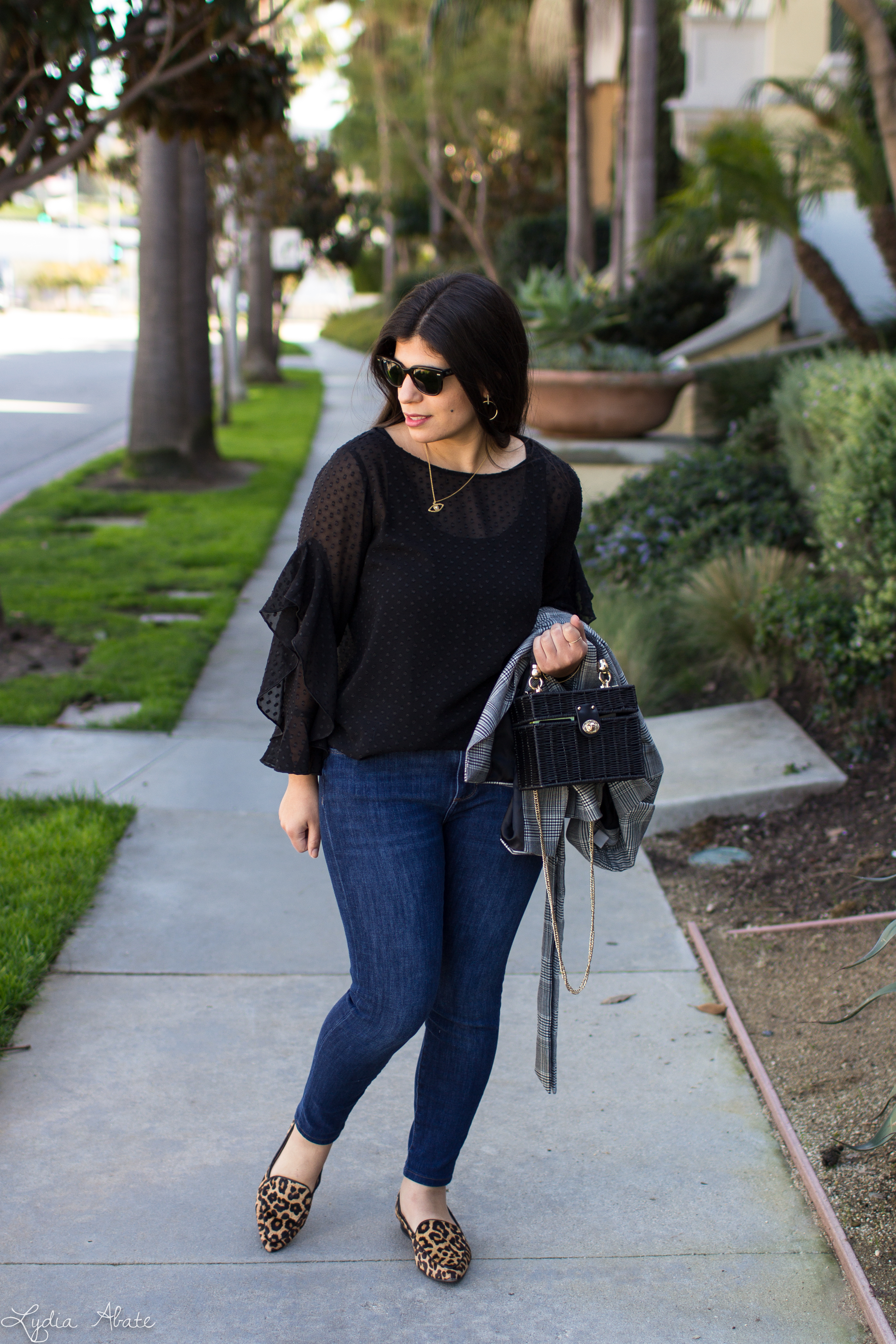black sheer ruffle sleeve blouse, plaid blazer, jeans, leopard loafers, straw box bag-1-2.jpg