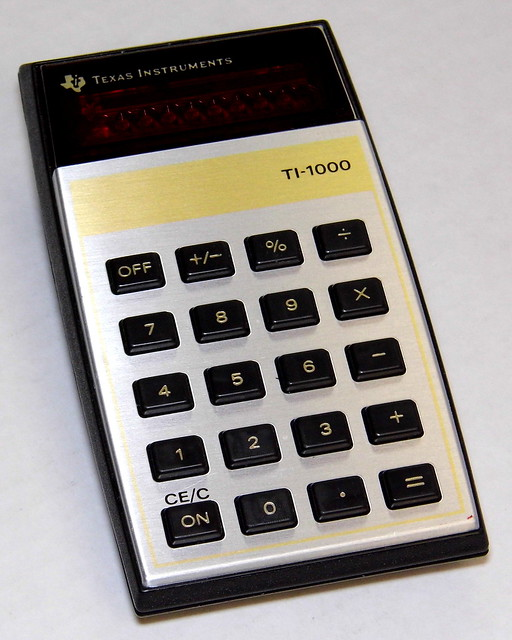 Vintage Texas Instruments 5-Function Electronic Pocket Calculator, Model TI-1000, Red LED Display, Made in USA, Circa 1977