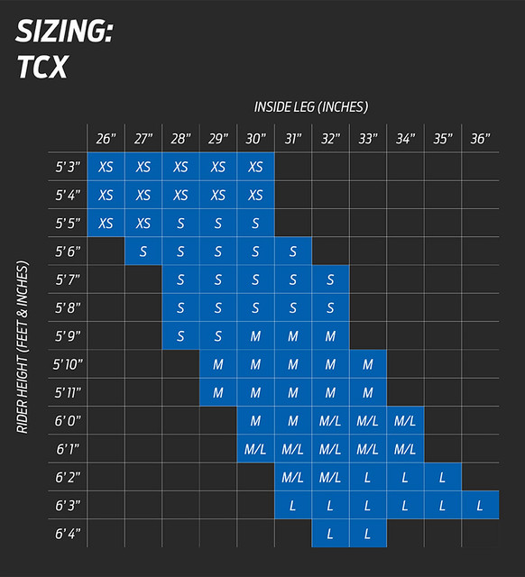 Giant TCX Size Chart