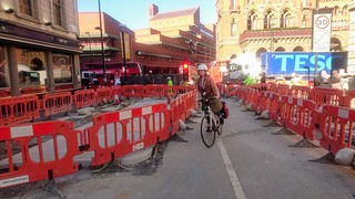 Top of Judd Street Road works! TfL is building out the kerbs to provide a two-way cycle route through