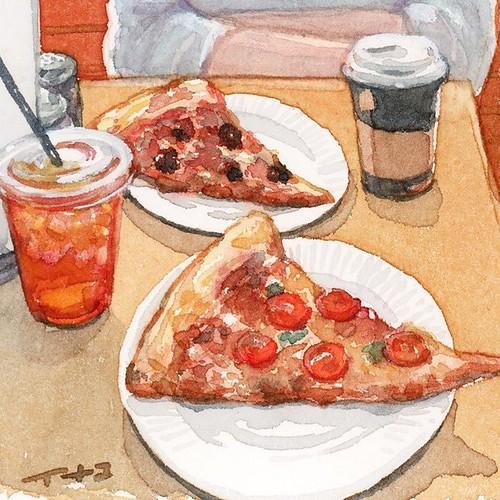 Pizza lunch PIZZA SLICE&SODA FOUNTAIN @pizza_slice_tokyo in...