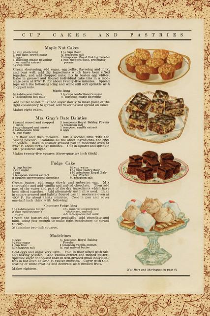 Kuchen, Torten, Kleingebäck, Desserts ... für jede Gelegenheit ... Pâtisserie, Konditorenkunst ... Collagen aus Fotohintergrund und Rezeptblatt mit Text und Zeichnung ... aus einem alten englischen Backbuch von 1910 / 1920 ... Gestaltung: Brigitte Stolle