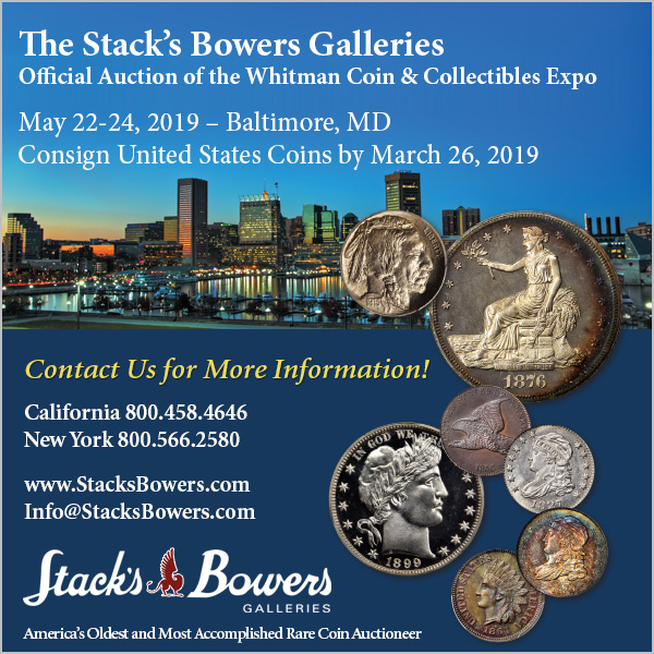 Stacks-Bowers E-Sylum ad 2019-03-03