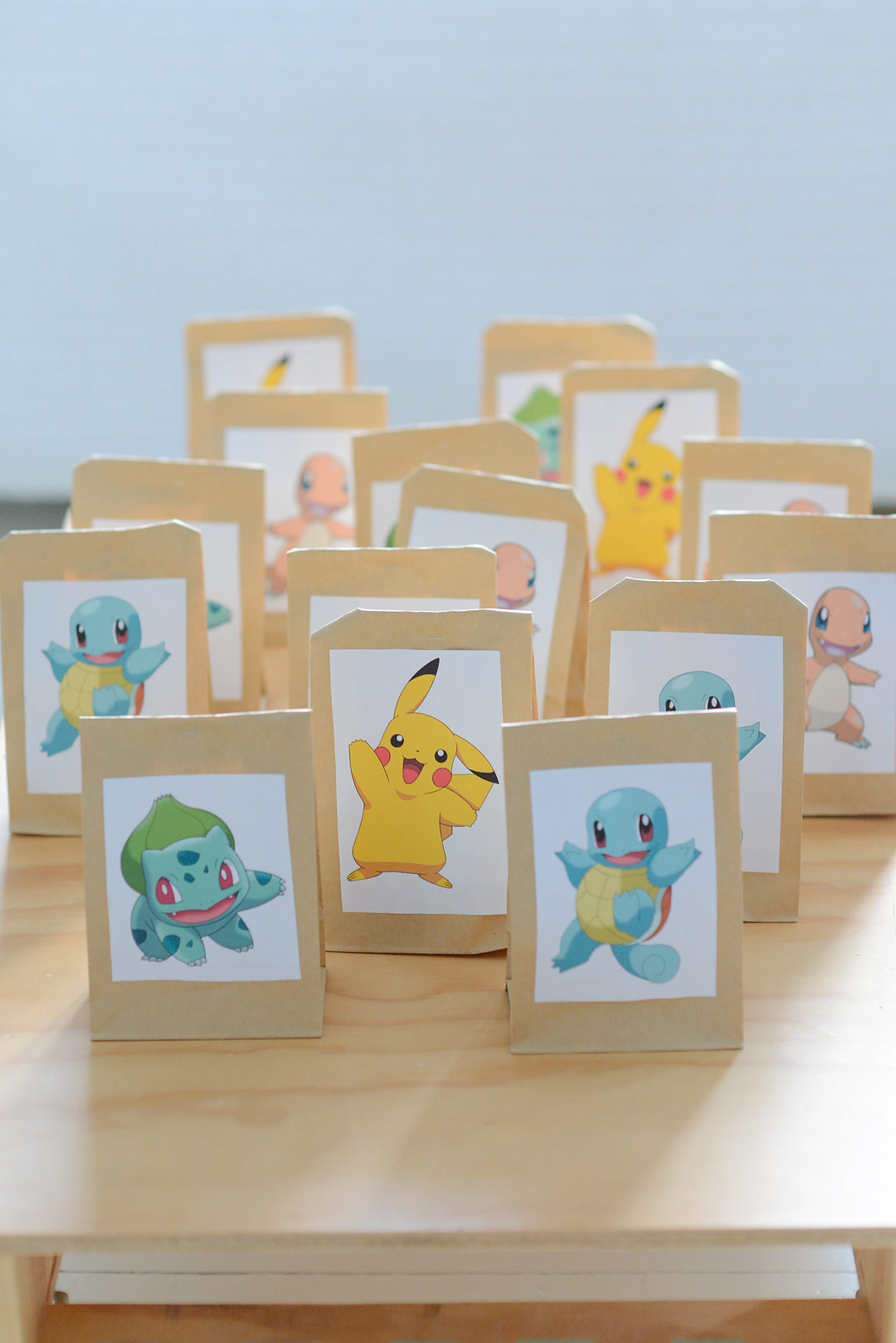 Pokemon birthday - Pikachu, Squirtle, Bulbasaur and Charmander surprise bags