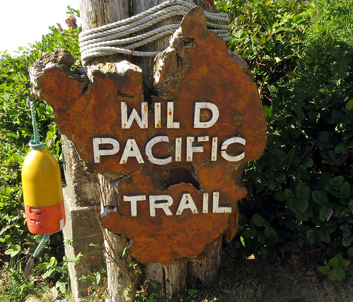 Sign on the Wild Pacific Trail near Ucluelet on Vancouver Island, BC, Canada