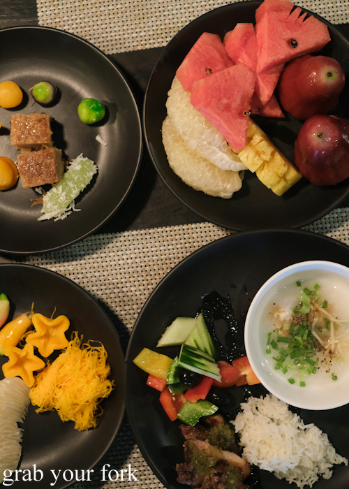 Buffet breakfast tropical fruits and Thai desserts at La Vela Hotel Resort in Khao Lak, Thailand