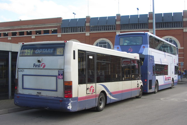 Enviro400 and Optare Solo (both First Greater Manchester), Ashton-under-Lyne