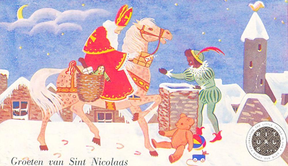Святой Николай. Немецкая открытка. XIX век