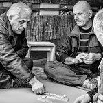 Men Play Dominos In Back of Moving Truck While Awaiting Work in Tirana