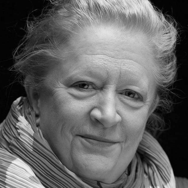 Black and white studio portrait photograph of Margaret Heffernan