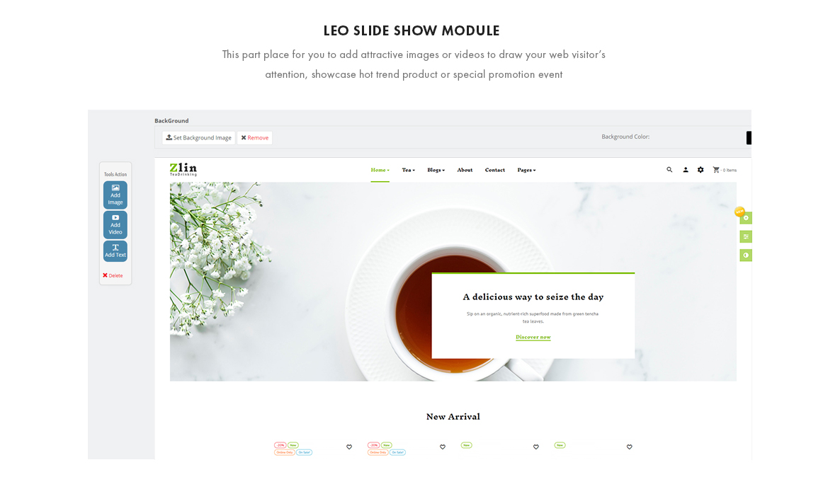 Slide show module - Leo Zlin - Tea Shop Prestashop theme
