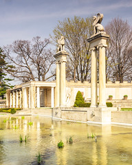 Yonkers, NY / United States - April 14, 2019: A vertical view of Untermyer Park's Amphitheatre