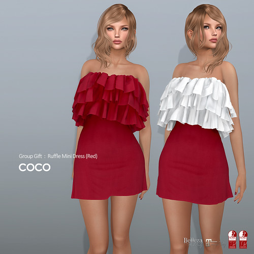 COCO Group Gift : Ruffle Mini Dress (Red)