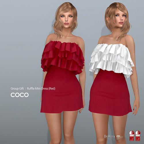 COCO Group Gift : Ruffle Mini Dress (Red)