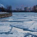 Icy Ashbridges Bay and Toronto skyline after dusk by Phil Marion