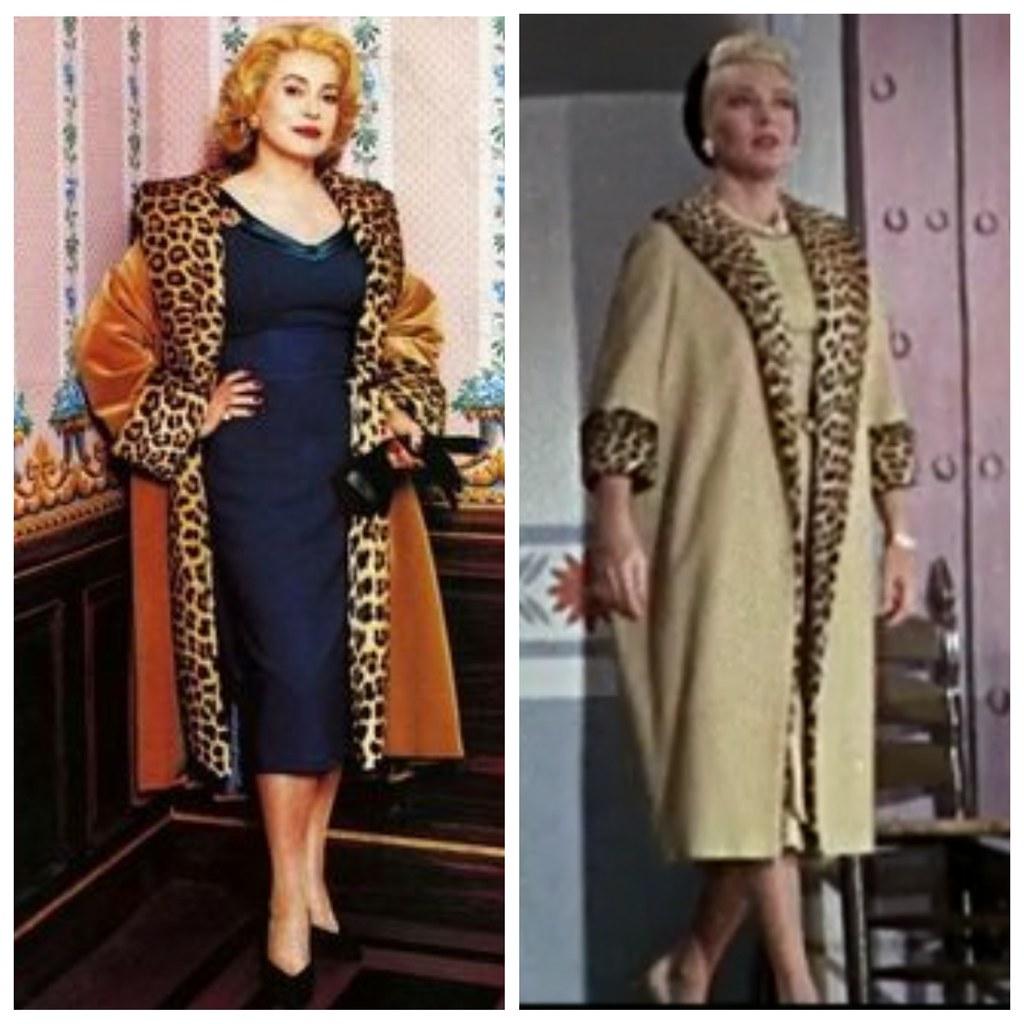 Слева - Катрин Денев в фильме 8 женщин (2003), справа - Лана Тернер в фильме Имитация жизни (1959)