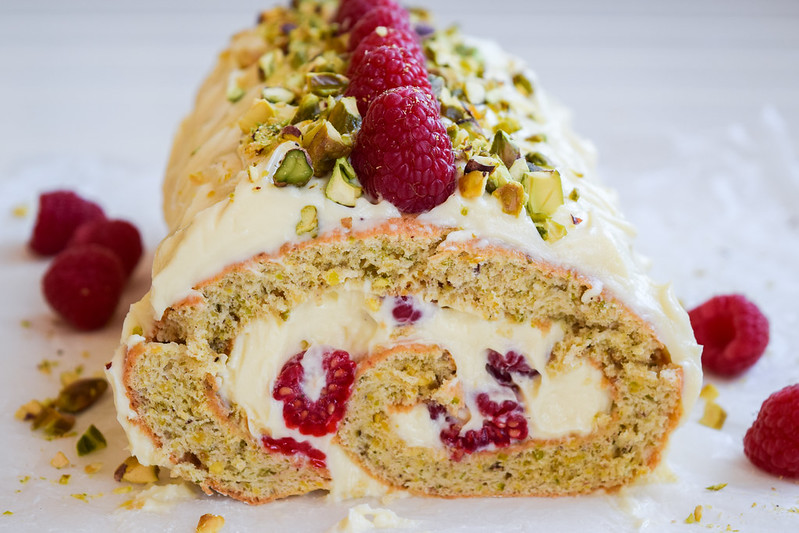 Cross Section of a Raspberry, Pistachio and White Chocolate Roulade